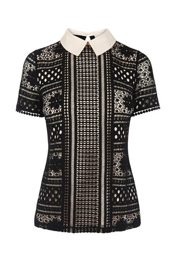 Oasis, COLLARED LACE TEE Black 0