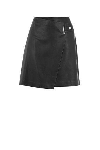 Oasis, FAUX LEATHER WRAP SKIRT Black 0