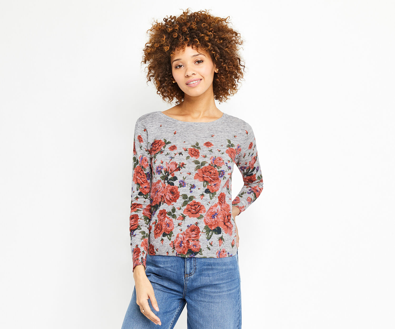 Oasis, UTILITY BLOOM PRINT JUMPER Mid Grey 1