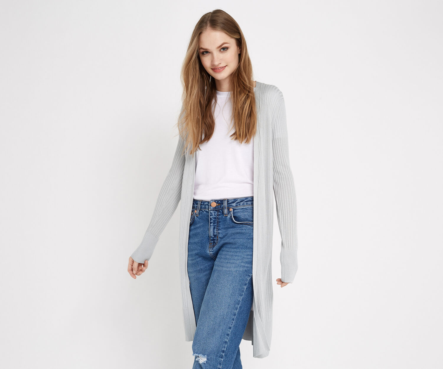 Oasis, RIBBED LONG CARDIGAN Mid Grey 1