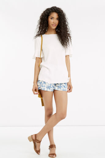 Oasis, FLUTED SLEEVE TOP Off White 2