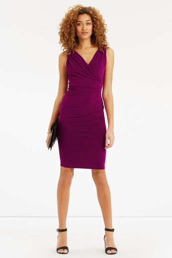 Oasis, Rouched V Neck Dress Mid Purple 2