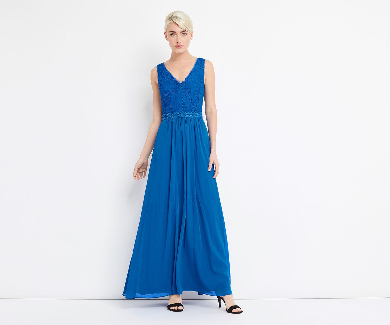 Oasis, LACE BODICE MAXI DRESS Cobalt Blue 1