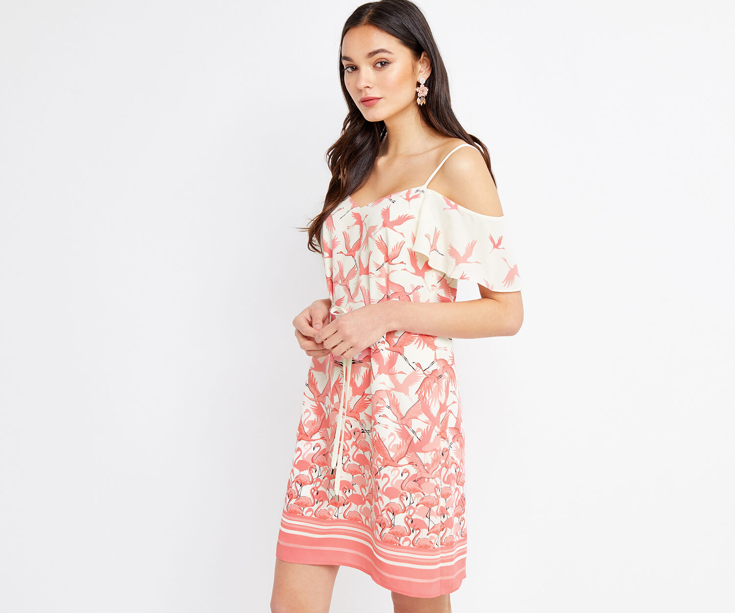 Oasis, FLAMINGO BARDOT CAMI DRESS Off White 1