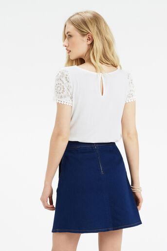 Oasis, Isla Lace T-Shirt Off White 3