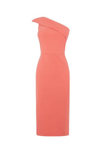 Oasis, ONE SHOULDER PENCIL DRESS Coral 0