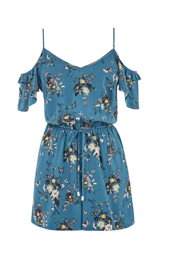 Oasis, MARIE RUFFLE SLEEVE PLAYSUIT Multi Blue 0