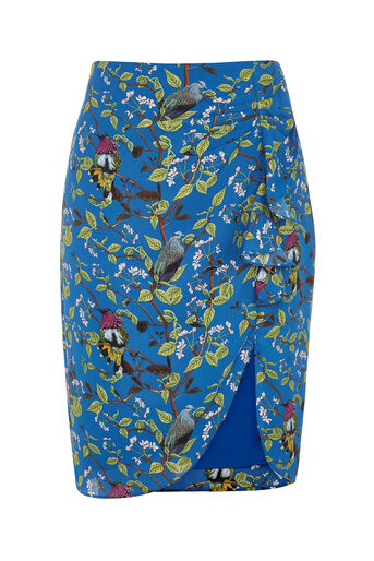 Oasis, TOPAZ BIRD RUFFLE DRAPE SKIRT Multi Blue 0