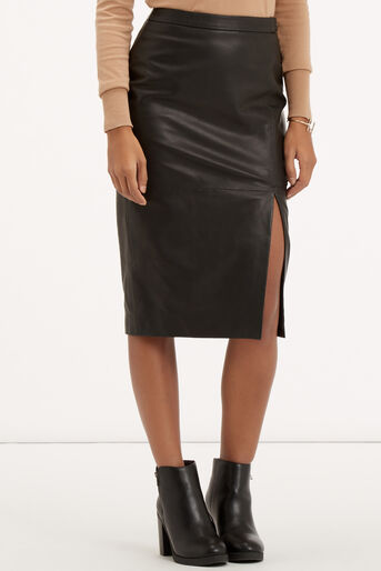 Oasis, Leather Wrap Pencil Skirt Black 1