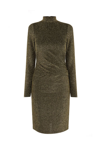Oasis, SPARKLE HIGH NECK DRESS Gold 0