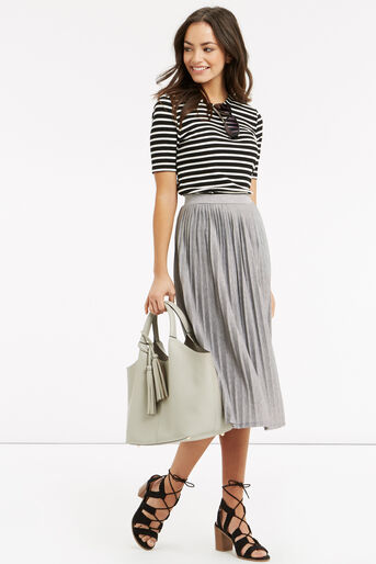Oasis, Pleated Skirt Pale Grey 2