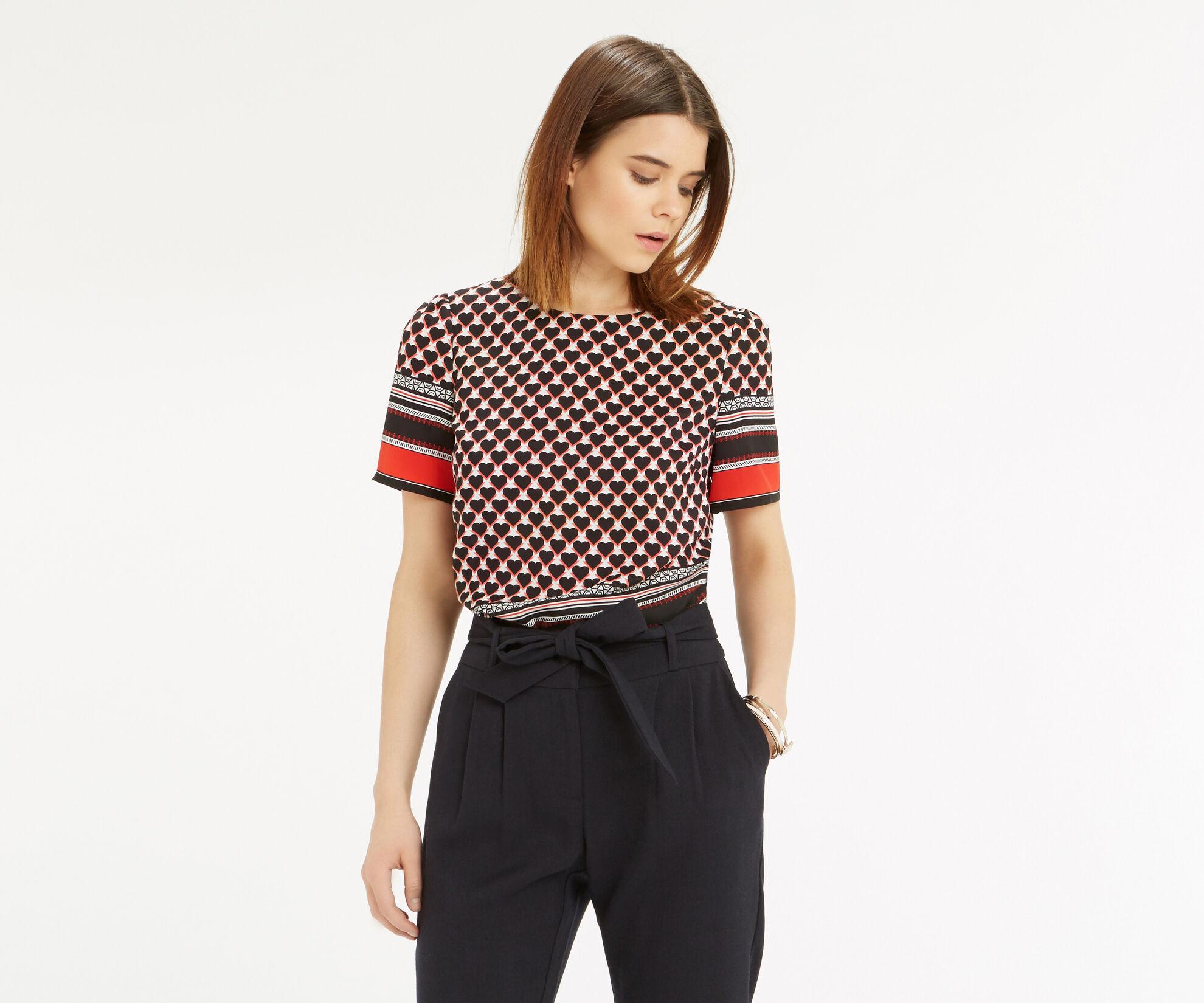 Oasis, Geo Heart Stripe T-Shirt Multi 1