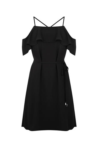 Oasis, STRAPPY BARDOT DRESS Black 0