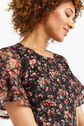 Oasis, DOUBLE LAYER SLEEVE ROSE DRESS Black 4