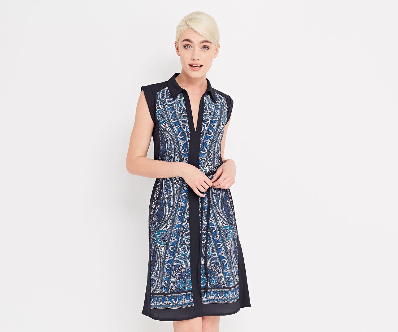 Oasis, CHRISTY PAISLEY SHIRT DRESS Multi Blue 1