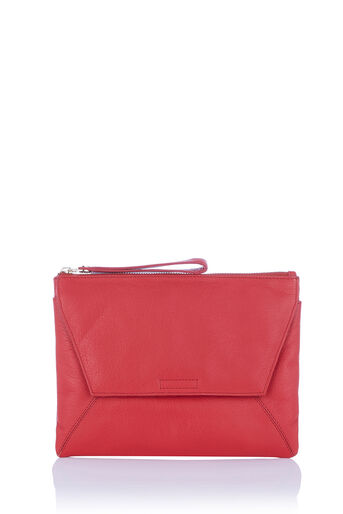 Oasis, LEATHER DEX CLUTCH Mid Red 0
