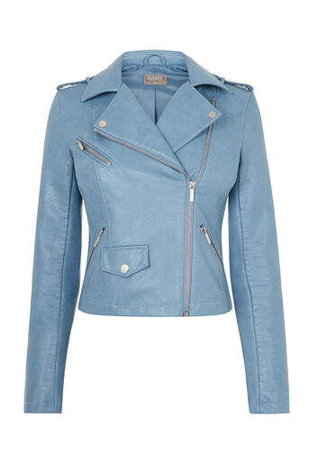 Oasis, FAUX LEATHER BIKER Light Blue 0