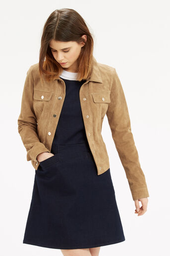 Oasis, Suede Harrington Jacket Tan 1