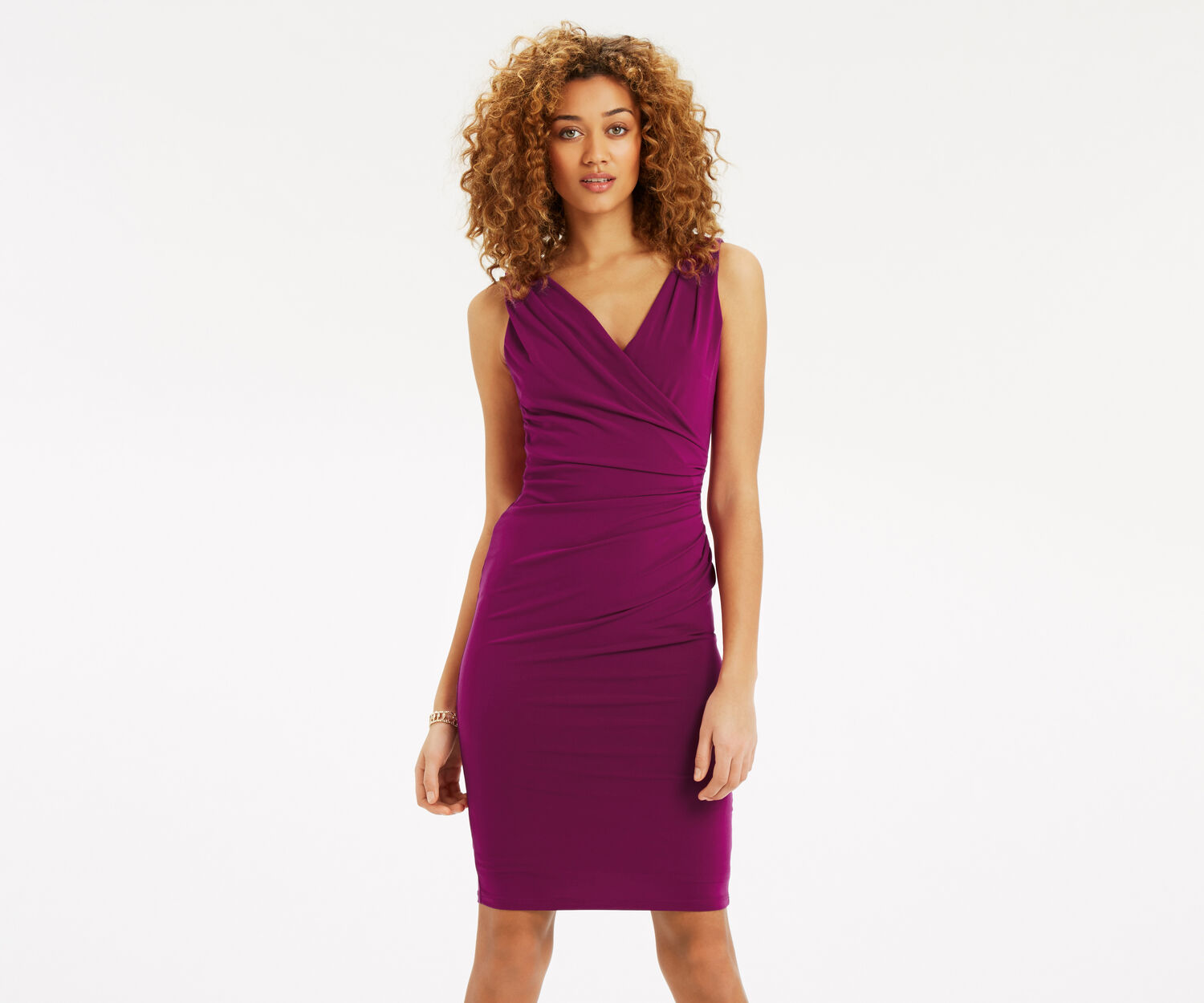 Oasis, Rouched V Neck Dress Mid Purple 1