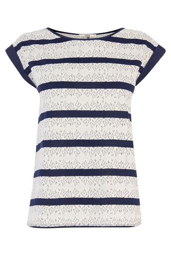 Oasis, Butterfly Stripe T-Shirt Navy 0