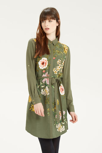 Oasis, Floral Print Shirt Dress Multi Green 1