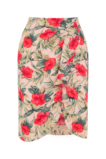 Oasis, Tropical Drape Front Skirt Multi Natural 0