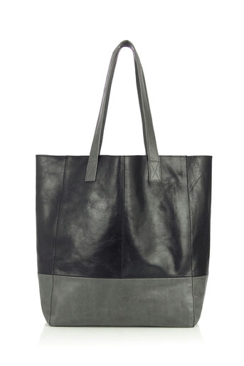 Oasis, LEATHER SHOPPER BAG Multi Grey 0