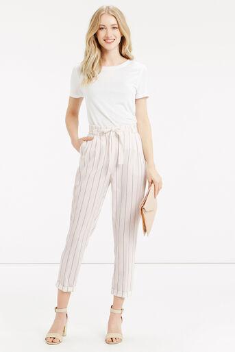 Oasis, Stripe Peg Paperbag Trouser Off White 2