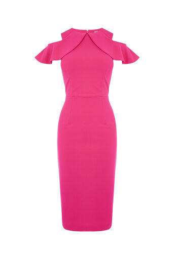 Oasis, RUFFLE COLD SHOULDER DRESS Bright Pink 0