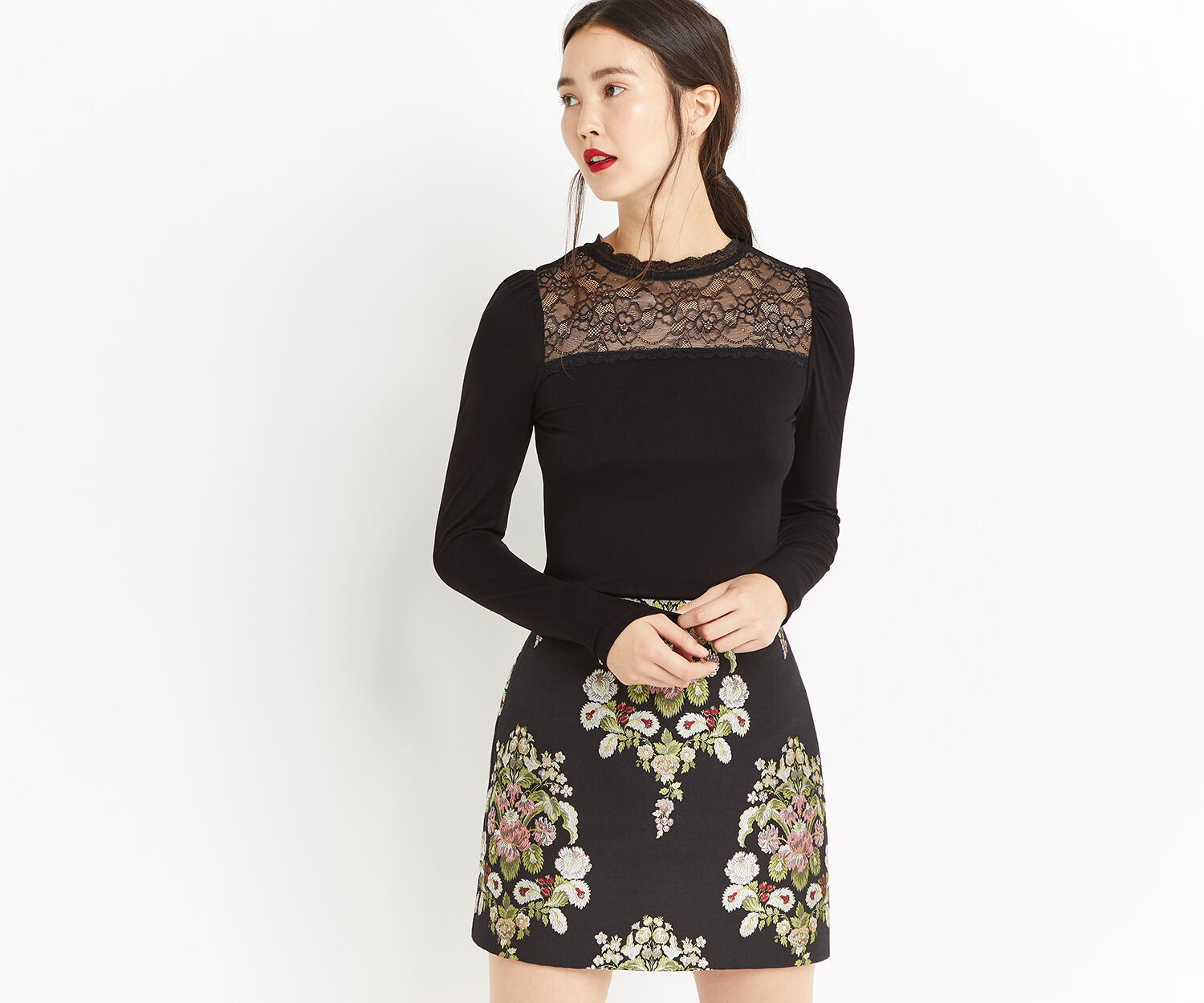 Oasis, LACE INSERT LONG SLEEVE TOP Black 1