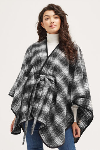 Oasis, BELTED CHECK WRAP Black and White 1