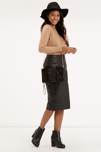 Oasis, Leather Wrap Pencil Skirt Black 2
