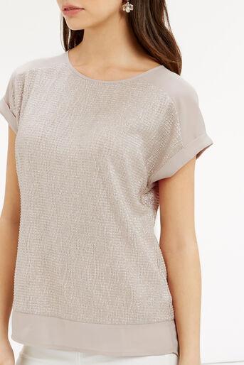 Oasis, Crinkle Sparkle T-Shirt Mid Neutral 4