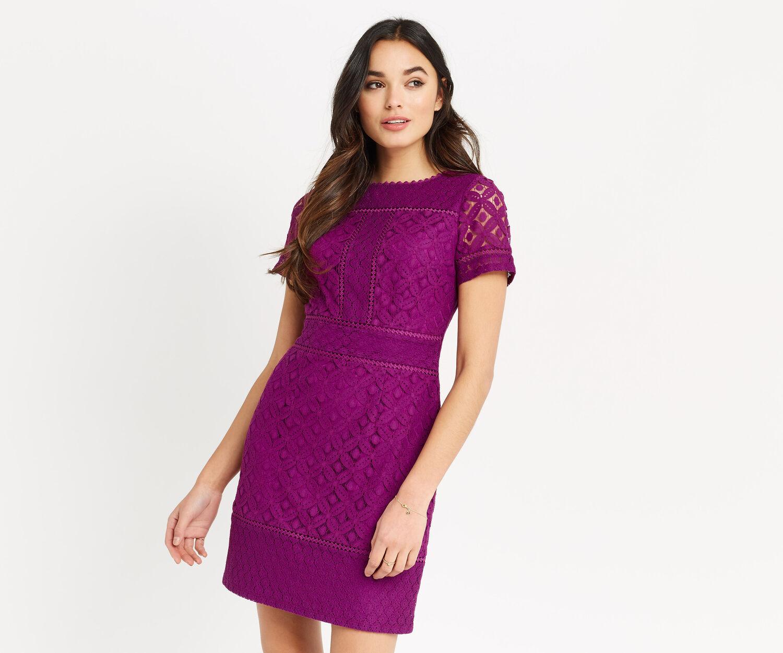 Oasis, ISLA LACE SHIFT DRESS Bright Pink 1