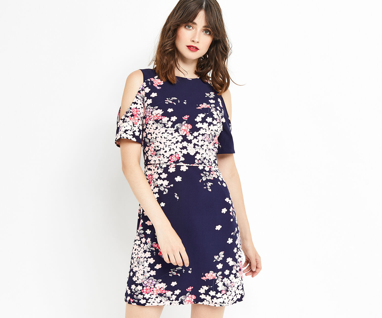 Oasis, KIMONO COLD SHOULDER DRESS Multi Blue 1