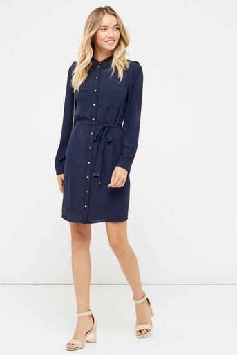 Oasis, UTILITY PIPED SHIRT DRESS Navy 2