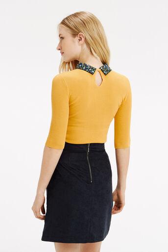 Oasis, Ditsy rib collar knit Ochre 3