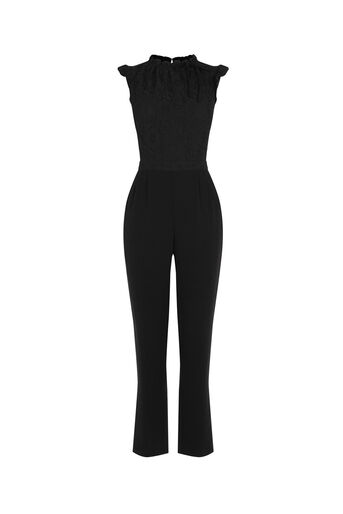 Oasis, RUFFLE NECK JUMPSUIT Black 0