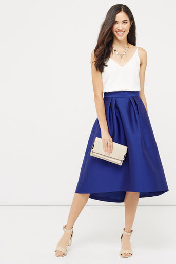 Oasis, SATIN FULL MIDI SKIRT Cobalt Blue 2