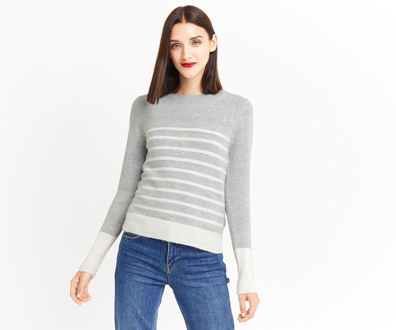 Oasis, Stripe perfect crew Mid Grey 1