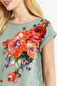 Oasis, ROSE PLACEMENT LACE TRIM TEE Multi Green 4