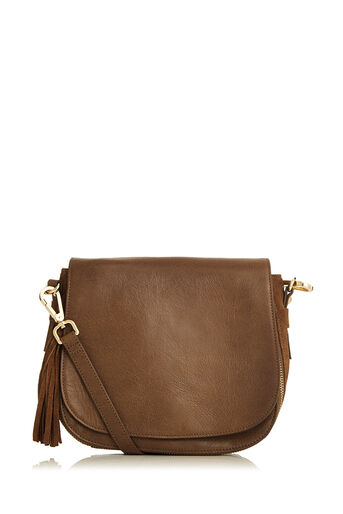 Oasis, Eda Leather Saddle Bag Tan 0
