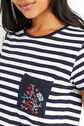 Oasis, STRIPE EMBROIDERED POCKET TEE Multi Blue 4