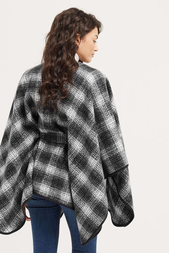 Oasis, BELTED CHECK WRAP Black and White 3