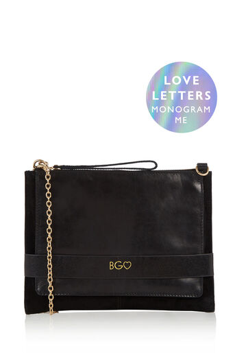 Oasis, MONOGRAM ENVELOPE CLUTCH BAG Black 0