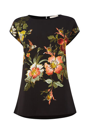 Oasis, ROSETTI WOVEN FRONT TOP Black 0