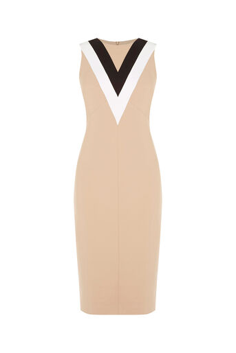 Oasis, COLOURBLOCK V NECK DRESS Camel 0