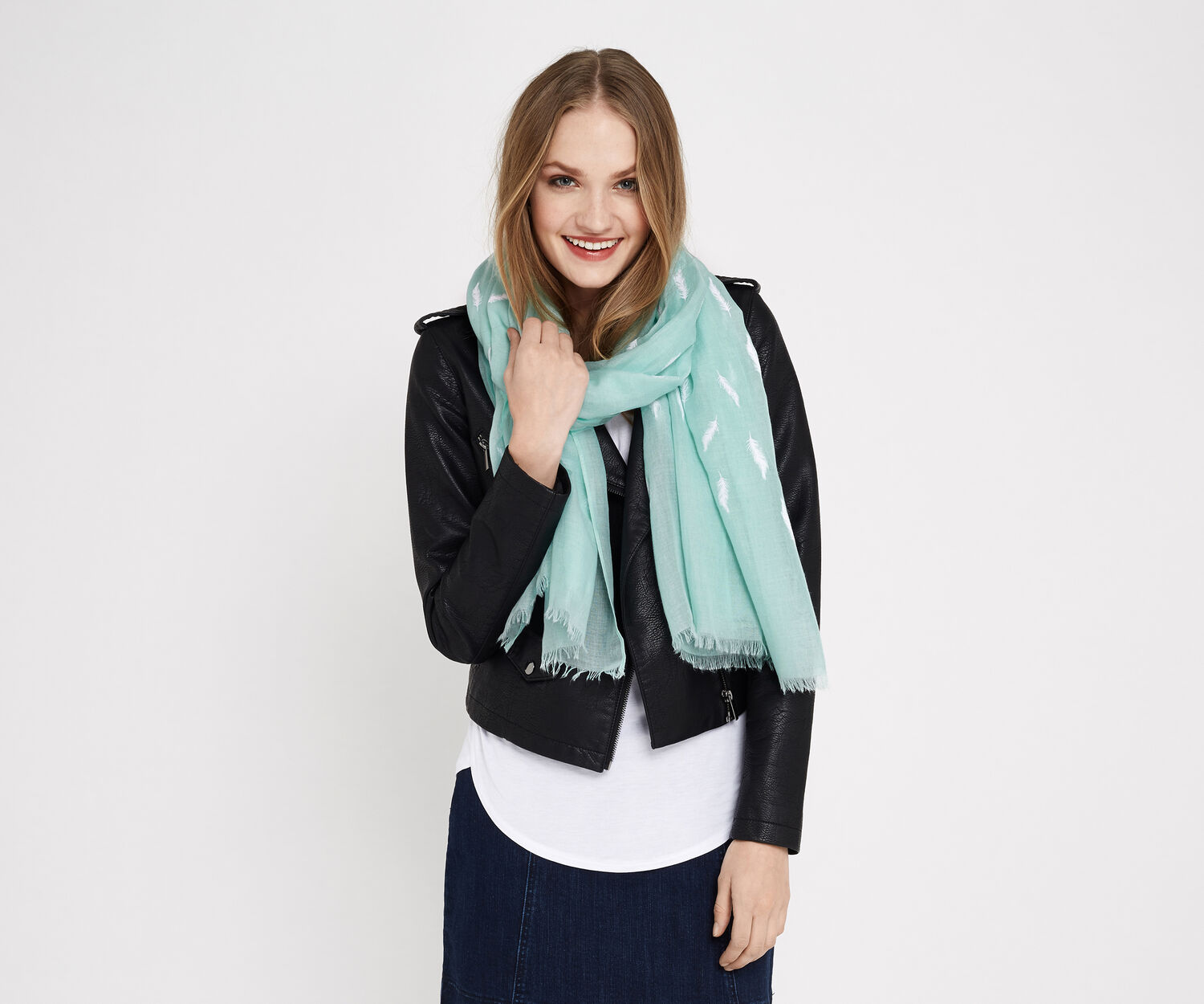 Oasis, FEATHER PUFF SCARF Light Blue 1