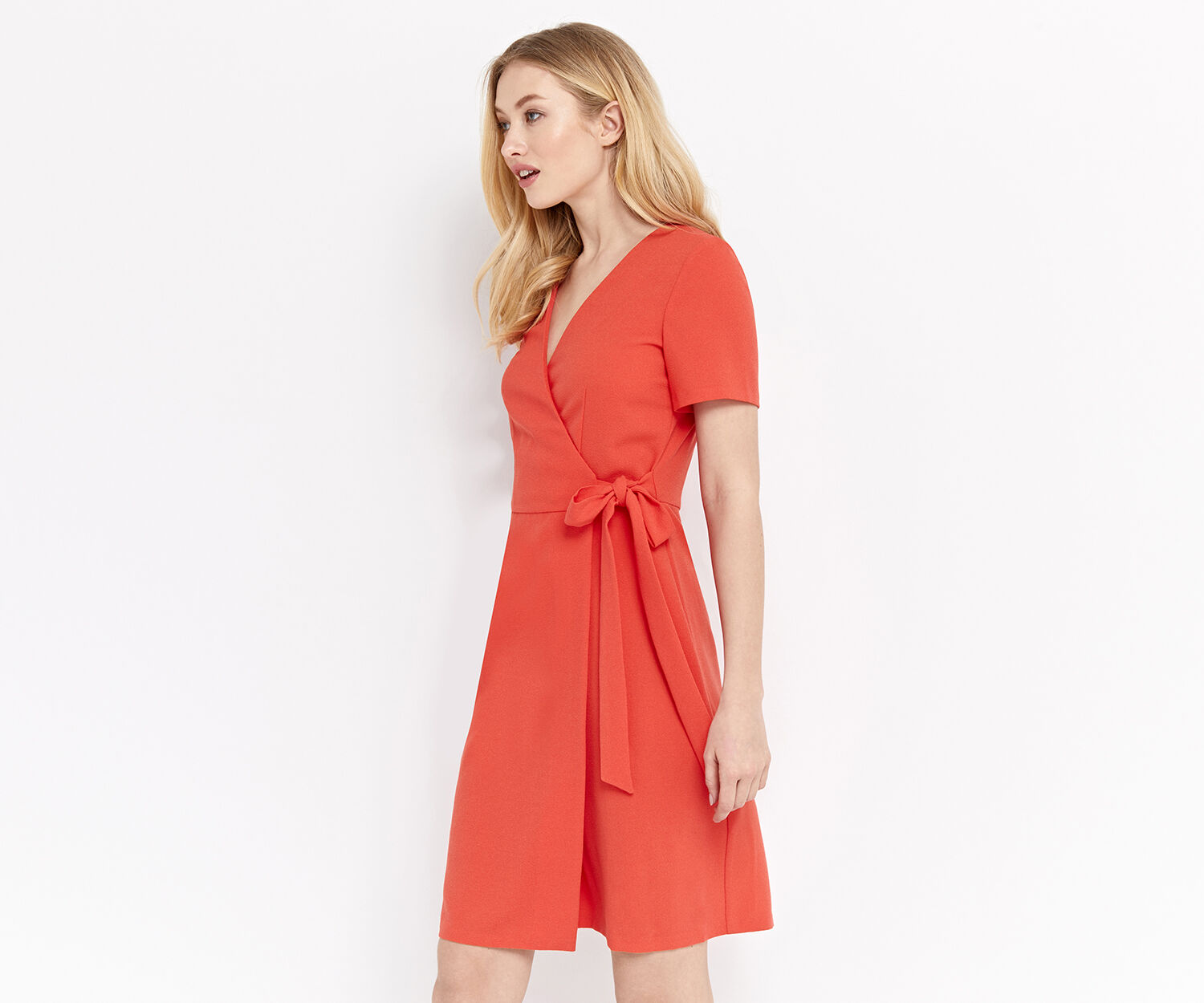 Oasis, WRAP DRESS Coral 1
