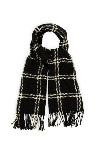 Oasis, STITCHED GRID CHECK SCARF Black and White 0